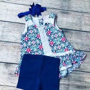 Little Lass TankDress 12m+Primary Shorts